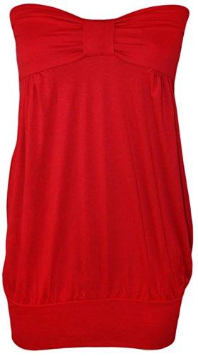 Nouveau Femmes Grande SizeBandeau Boob avant noeud bracelet extensible Hauts 44-54 red