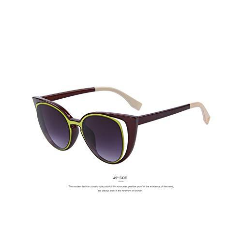 Sportbrillen, Angeln Golfbrille,MERRYS Fashion Cat Eye Sunglasses Women Brand Designer Retro Pierced Female Sun Glasses Oculos De Sol Feminino UV400 C07 Yellow