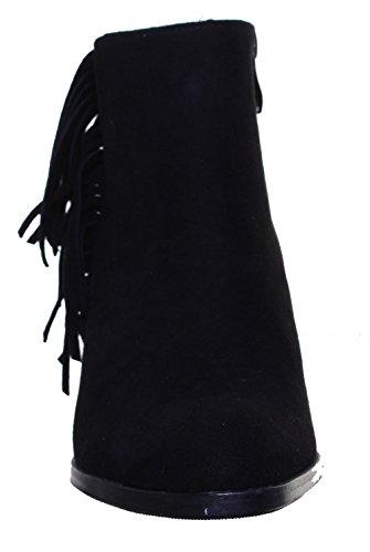 Justin Reece pour femme en cuir avec pompon Bottines Desinger Look Noir Talon Black FA