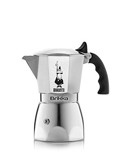 Bialetti . Caffettiera Moka caffè Espresso Brikka 2 Tazze Cups Doppia Crema