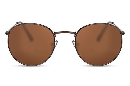 Cheapass Rund-e Sonnenbrille Braun Kupfer UV-400 Damen Herren