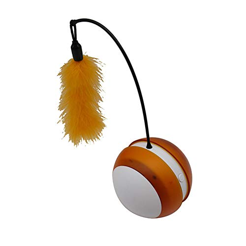 Glomixs Electric Pet Toys Ball Tumbler Flashing Wheel Tumbler Feather Toys Pets Supplies,Material: ABS + PP + Feather,Size: Approx. 9 x 9 x 23cm,Battery: 3pcs AAA Battery (Not Included)