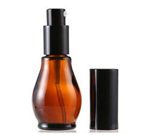 ericotry 2 unidades 30 ml recargable ámbar vacío cristal crema loción botella con negro Capa cristal cosmético botella dispensador de recipientes de viaje