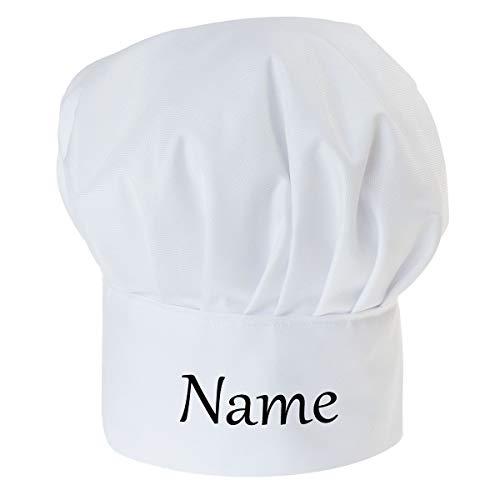 Personalisierte Kochmütze Für Kinder Jungen und Mädchen Weiß Kochhaube mit Ihrem Wunschtext/Grafik Klettverschluss mit Namen/texte [099]