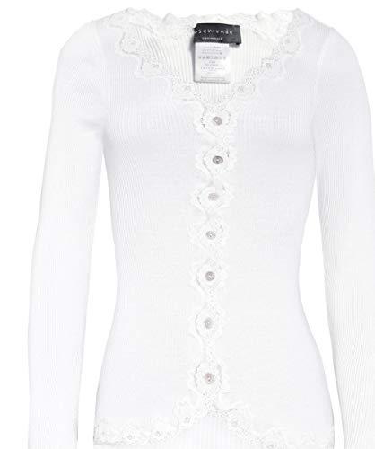 Rosemunde Damen Seide gerippte Strickjacke L New White -