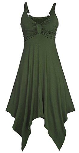 Monissy Femmes Robe Novelle Style Mini Robe Plage Femme Sans Manches Dress A Bretelles Fines Multicolore Casual Femme Eté Queue D'aronde Vert