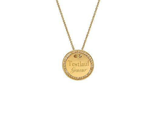 MIT GRAVUR - Gravurplatte 2,5 cm Münze Rund mit Strasssteinen, ColorName:Gold (Gold Münze Halskette)