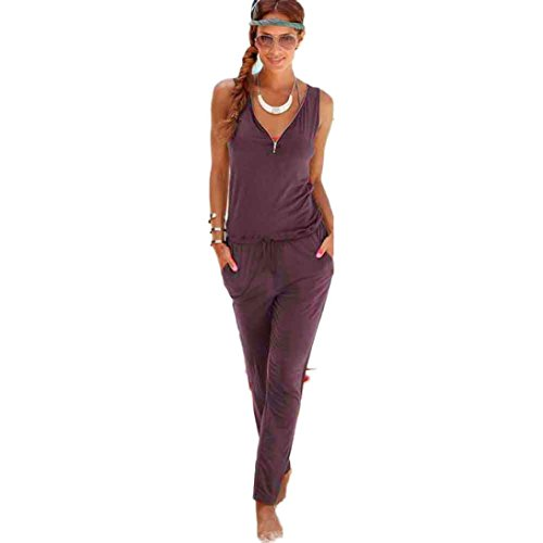 IMJONO.V-Kragen Sling Jumpsuit Damenmode siamesische Shorts Strand Overall (Coffee, S)