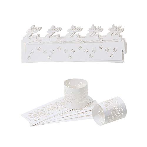 FLAMEER 20x Soporte de Papel de Vela huec para Elección Ciervos de Navidad, Árboles de Navidad y Copos de Nieve de Navidad