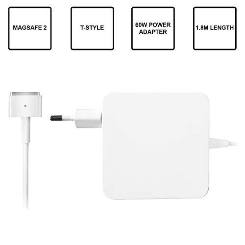 Slabo Ladegerät MagSafe 2 T-Stil Netzteil 1,8m Meter - 60W Watt - Ladegerät Netzteil für MacBook Air 11 und 13 Zoll (Erscheinungsjahr 2012-2015) - Weiss