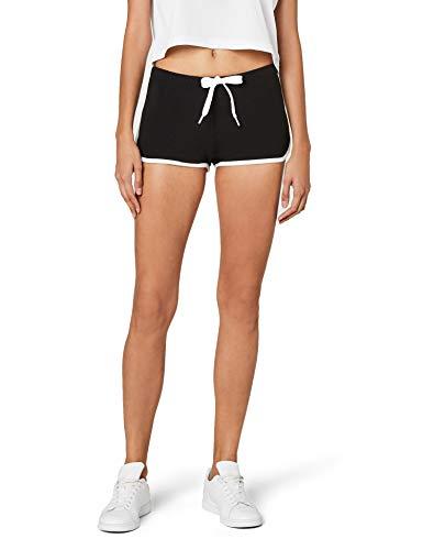 Urban Classics Damen Short Ladies French Terry Hotpants, Mehrfarbig (blk/wht 50), 36 (Herstellergröße: S)
