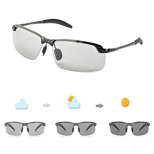 OSVAW Herren Photochromatisch Sportbrille Polarisiert Selbsttönend Sonnenbrille Al-Mg Anti Reflexbeschichtung für Autofahren Laufen Radfahren Angeln Golf 100% UVA UVB Schutz Hoch
