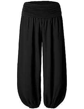 BAISHENGGT Mujer Pantalones Harem con Cintura Elastica Negro Large