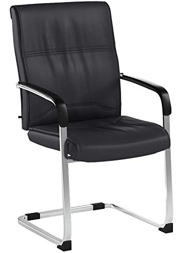 CLP XXL-Freischwinger Anubis mit Kunstlederbezug und gepolsterter Sitzfläche I Pflegeleichter Konferenzstuhl mit Armlehne Braun