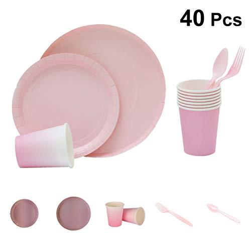 Set Papier Einweggeschirr Teller Tasse Set für Geburtstag Hochzeit Festival Party Supplies 40 Stück (Zufällige Farbe) ()