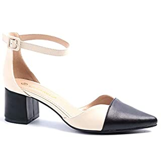 Greatonu Womens Mary Jane Shoes Ankle Strap Mid Heels Pointed Toe Sandals Court Shoes Beige Size 6 UK