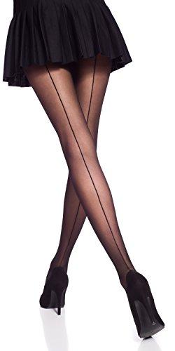 Romartex 20 DEN Feinstrumpfhose Strumpfhose mit schwarzer Naht, 3 Farben, M, schwarz
