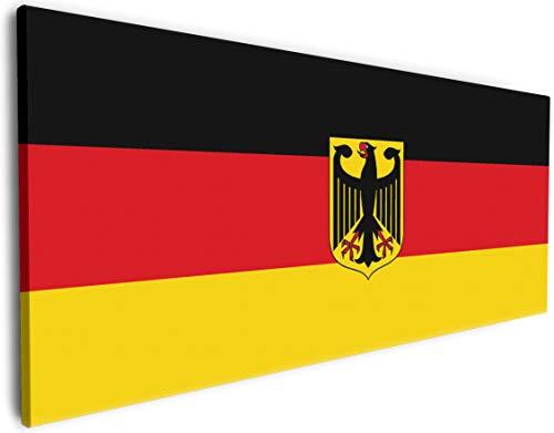 Wallario XXXL Riesen- Leinwandbild Deutsche Flagge mit Wappen - 80 x 200 cm Brillante lichtechte Farben, hochauflösend, verzugsfrei