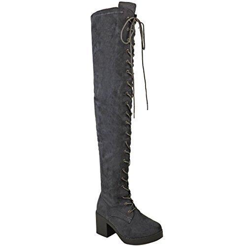 donna sopra al ginocchio stivali con lacci tacco spesso aderenti, ALTI Gotico Biker Taglia Grigio Finto Scamosciato