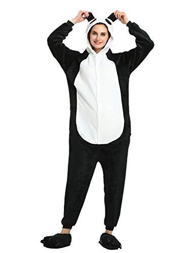ShiyiUP Tier Schlafanzug Lustig Jumpsuit Cosplay Kostüm Overall Halloween Erwaschene Damen Herren Panda(Ohne Schuhe),S
