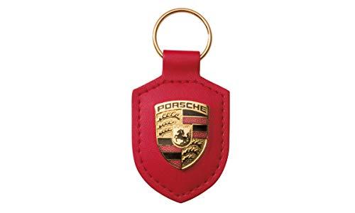 Original Porsche Crest Llavero de Cuero, Rojo, WAP0500920E