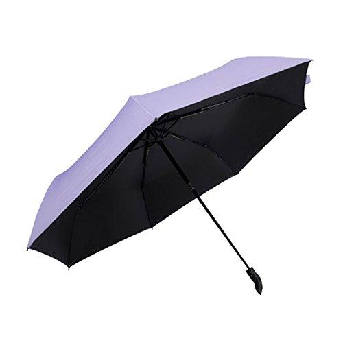 Regenschirm, Regen und Sonnenschirm Automatisch Faltbar mit Schwarzer Anti-UV Beschichtung für Winddicht, Regenschutz & 99% UV Schutz, UPF50 + Reise-Regenschirm(Lila) YS014