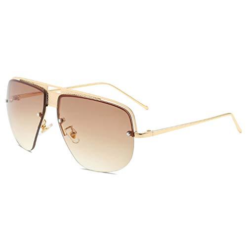 YHgiway Retro Classic Aviator Sonnenbrille für Männer Fashion Gradient Lens Shades Sun Brillen Halb-Rahmen mit Case YH7155,GoldFrame/BrownGradient