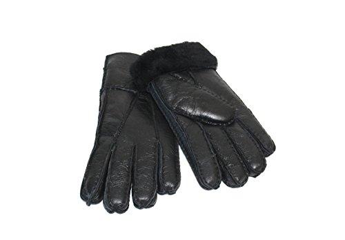 Lammfell Handschuhe Finger Handschuhe schwarz mit schwarzen Lammfell, Damen Lammfell Handschuhe, Herren Lammfell Handschuhe , Größenbeschreibung siehe Produktbeschreibung