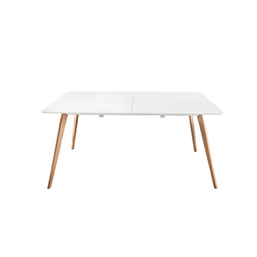Moderner Esstisch SCANDINAVIA 160-200cm weiß Eichenholz Holztisch mit Tischplatte in weiß Beine aus Eiche ausziehbar