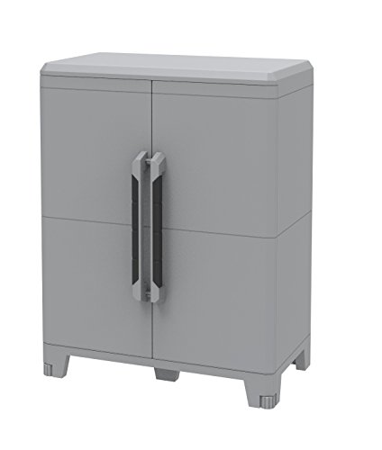 Terry transforming modular 2, armadietto multifunzione in plastica a due porte, grigio, 78 x 43.6 x 101.6 cm