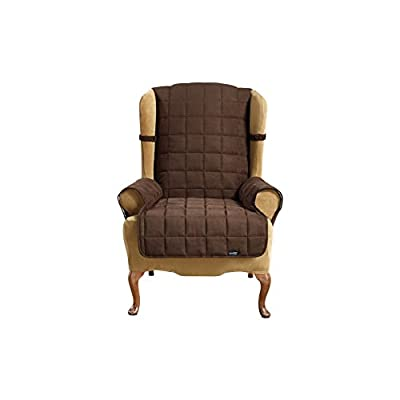 Sure Fit 1 Piece Quilted Sofa Suede Waterproof Pet Cover Wing Chair/Recliner, Chocolate