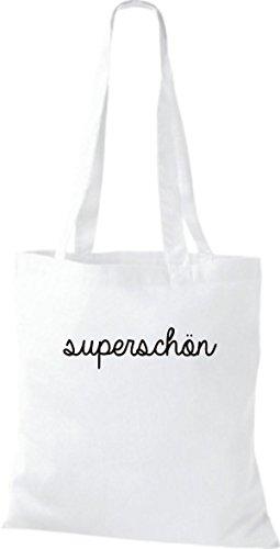 ShirtInStyle superschön weiss Typo Shopper Stoffbeutel lustiger Baumwolltasche Spruch 8Yq8wSr