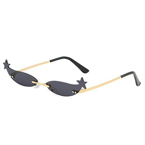 Lazzboy Mode Mann Frauen Unregelmäßige Form Sonnenbrille Brille Vintage Retro Style Herren Polarisierte Mit Metallrahmen Und Kohlefaser Beine(C)