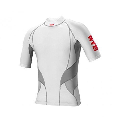 Slam Skiff Rash Top kurz Ärmel, 82% Nylon, 18% Spandex, Herren, White/Grey/Grey inserts (Uniform Crew Spandex)