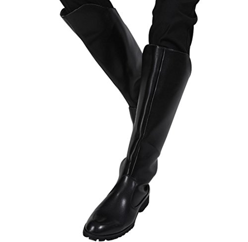WSK Lange Stiefel der Männer Hohe Stiefel Herren Militär Stiefel Sicherheit Stiefel Reitstiefel Lässig Ritter Stiefel Motorradstiefel, Black, 43