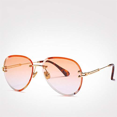 RZRCJ Mode Blau Rot Luftfahrt Sonnenbrille Frauen Männer Shades Uv400 Sonnenbrille Randlose Brille Für (Lenses Color : Orange Sunglasses)