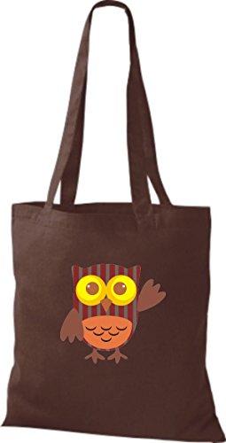 niedliche mit ShirtInStyle Bunte Farbe Karos braun Stoffbeutel Punkte Tragetasche Owl Eule streifen Jute diverse Retro rIxIwTY