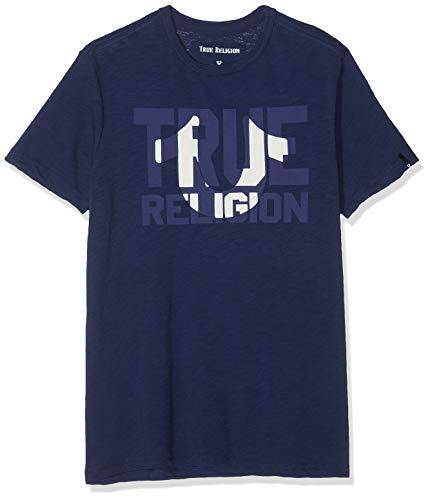 True Religion Herren Crew Block T-Shirt, Blau (Solid Navy 4142), Large (Herstellergröße: L)