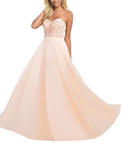 Bridal_Mall Women's Sweethart Beaded Bodice Flowing Chiffon Prom Dress Evening Gowns Champagne