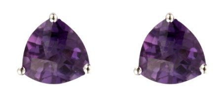 9ct White Gold Real Amethyst Chequerboard Cut Trillion Stud