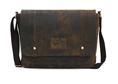 TUSC Charon Braun Büffel Leder Tasche Vintage Laptoptasche 15,6 Zoll 14 Zoll Herren Damen Unisex Umhängetasche Aktentasche Schultertasche für Büro Notebook Messenger Bag Laptop iPad, 38x28x9cm