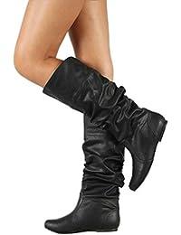 a4322786b8207 Minetom Stivali da Donna Gli Stivali Alti Stivali di Pelle Pieghettati Moda  Casual Inverno Autunno Boots