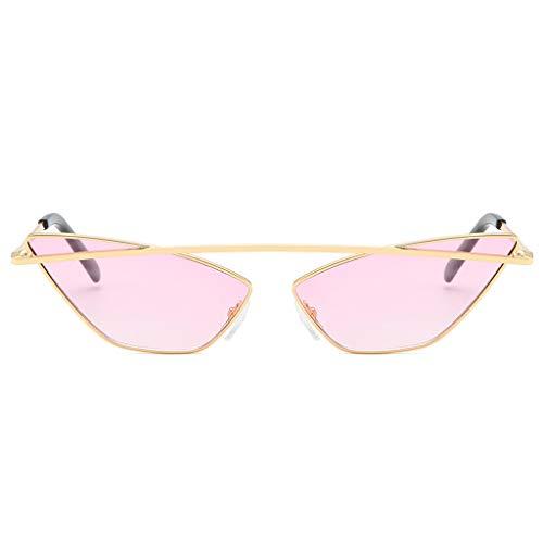 Lazzboy Damenmode Cat Eye Shade Sonnenbrille Integrierte Streifen Vintage Brille Damen Triangle Brillen Katzenauge Retro Jahrgang Sonnenbrillen(Rosa)