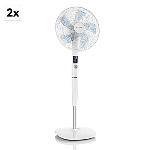 """Klarstein Silent Storm • Standventilator • 2er-Set • 35W Leistungsaufnahme • 16"""" (41cm) Durchmesser • für Räume bis zu 80 m³/h • 5-Blatt-Rotor • 4 Modi: Natur, Nacht, Leise, Komfort • Timer • weiß"""