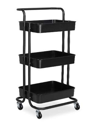 alvorog Servierwagen Küchenwagen Rollwagen Allzweckwagen Roll Regal für Küche Bad Büro mit Rollen 3 Etagen Schwarz
