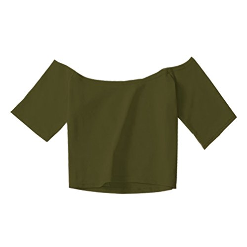 WanYang Damen Off Shoulder Kurzarmshirt Sommer Top T-Shirt Blusen Sexy Party Club Olive