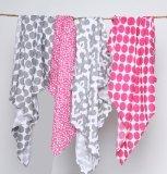 Ikat rose/gris d'emmaillotage en mousseline couvertures Lot de 4