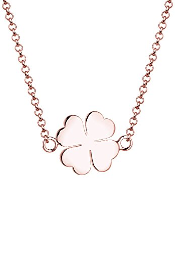 Elli Damen Schmuck Halskette Kette mit Anhänger Kleeblatt Glücksbringer Filigran Trend Symbol Silber 925 Rosé Vergoldet Länge 40 cm