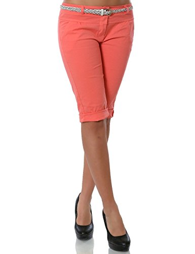 Damen Chino Capri Hose inkl. Gürtel (weitere Farben) No 13934, Farbe:Lachs;Größe:40 / L