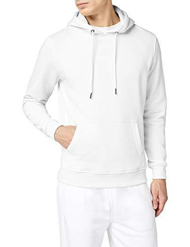 Urban Classics Herren Kapuzenpullover Basic Sweat Hoodie, einfarbiger Kapuzensweater mit Känguru Tasche, Kapuze verstellbar - Farbe white, Größe L